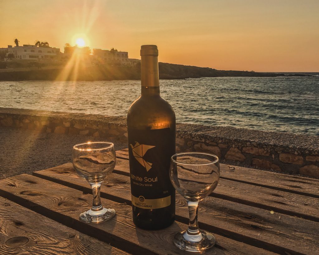 wine by sunset at our private beach