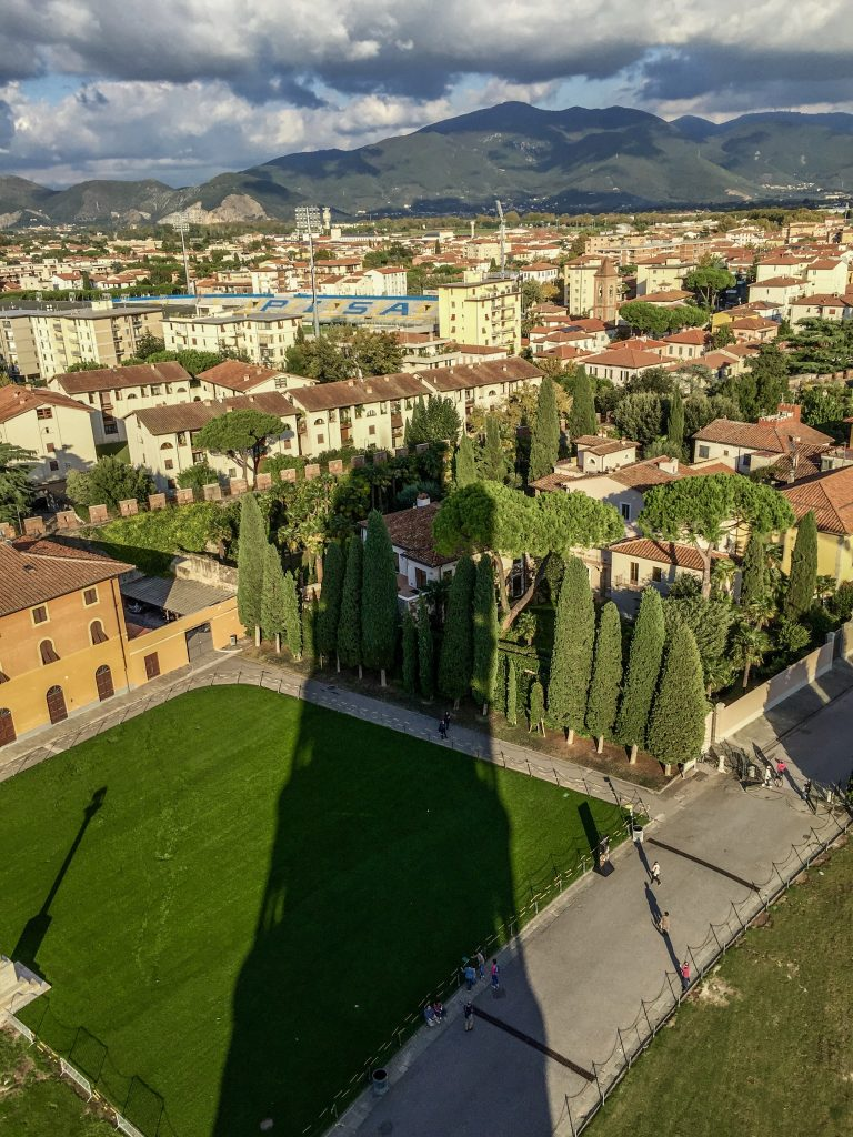 Leaning Tower Shadow Cast Over Pisa From the Top