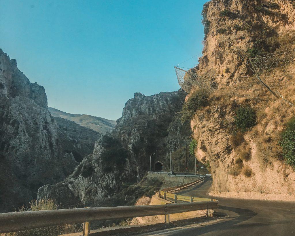 driving through the white mountains