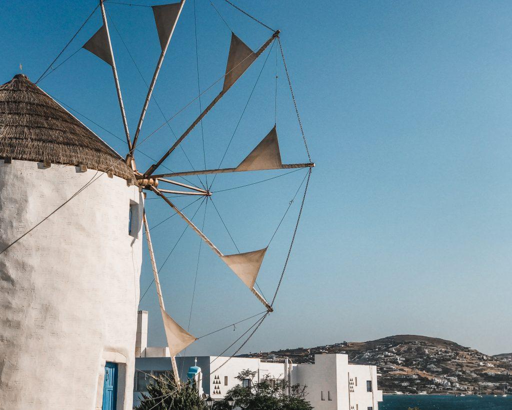 windmills in santorini