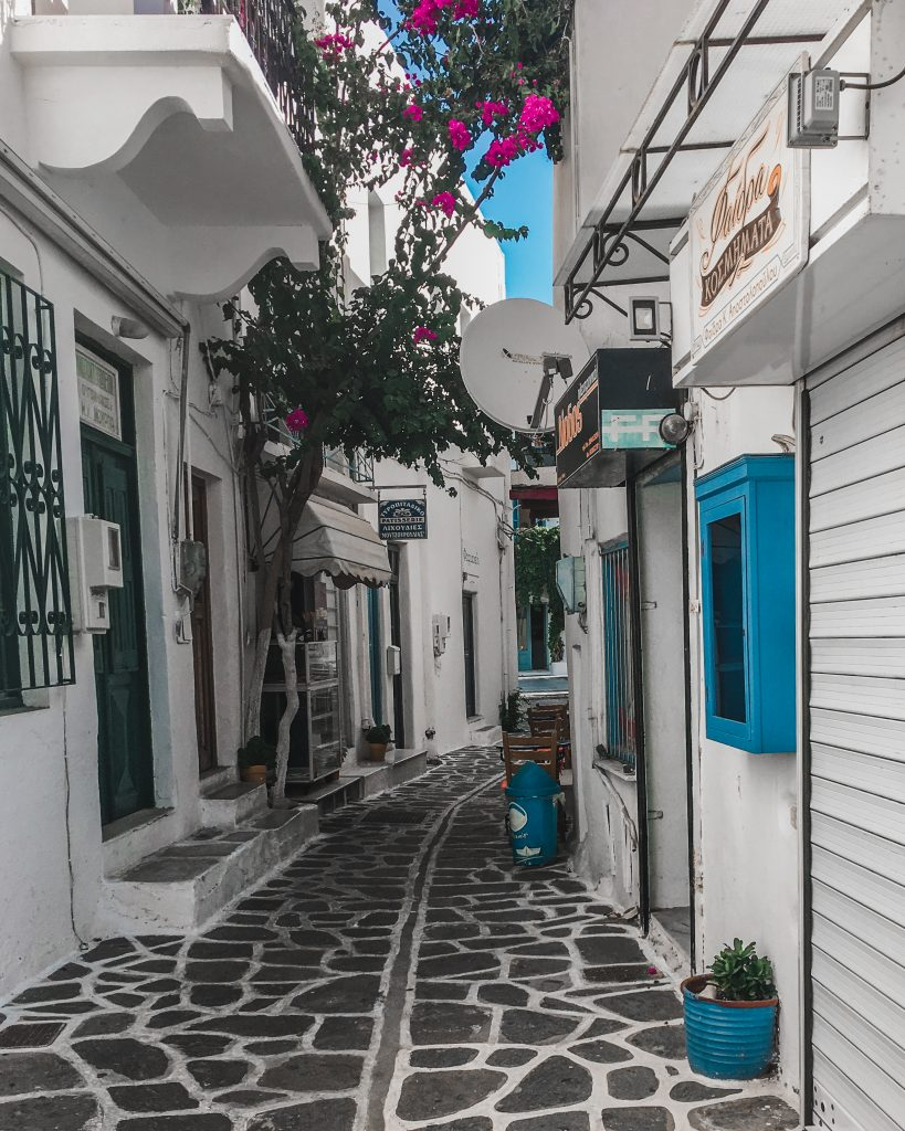 blue and white cobbled streets of mykonos