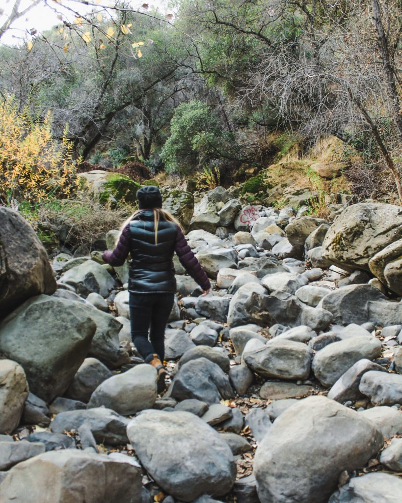 walking around on a dry river bed