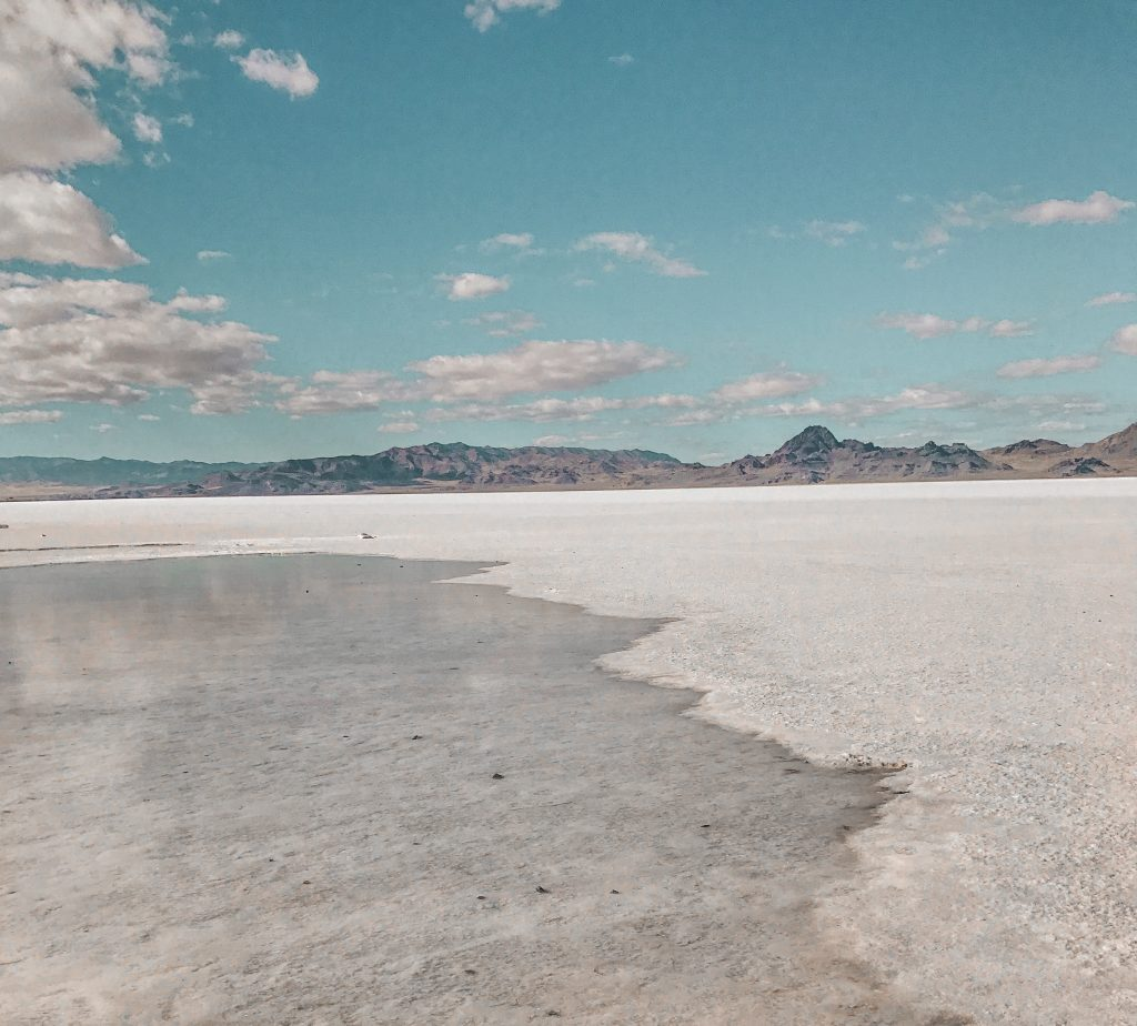 salt flats with water