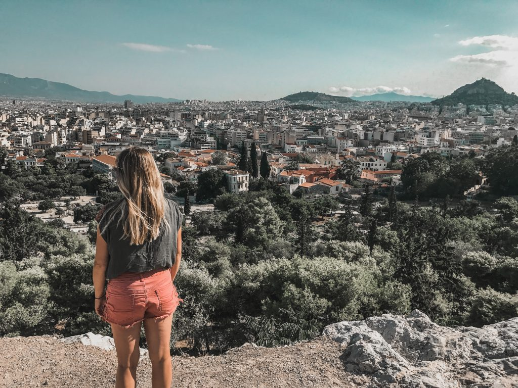 overlooking athens from the acropolis