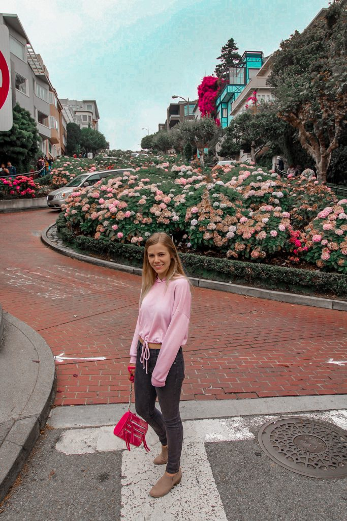 me at the base of lombard street