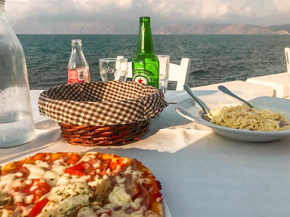 pizza for dinner at aretousa