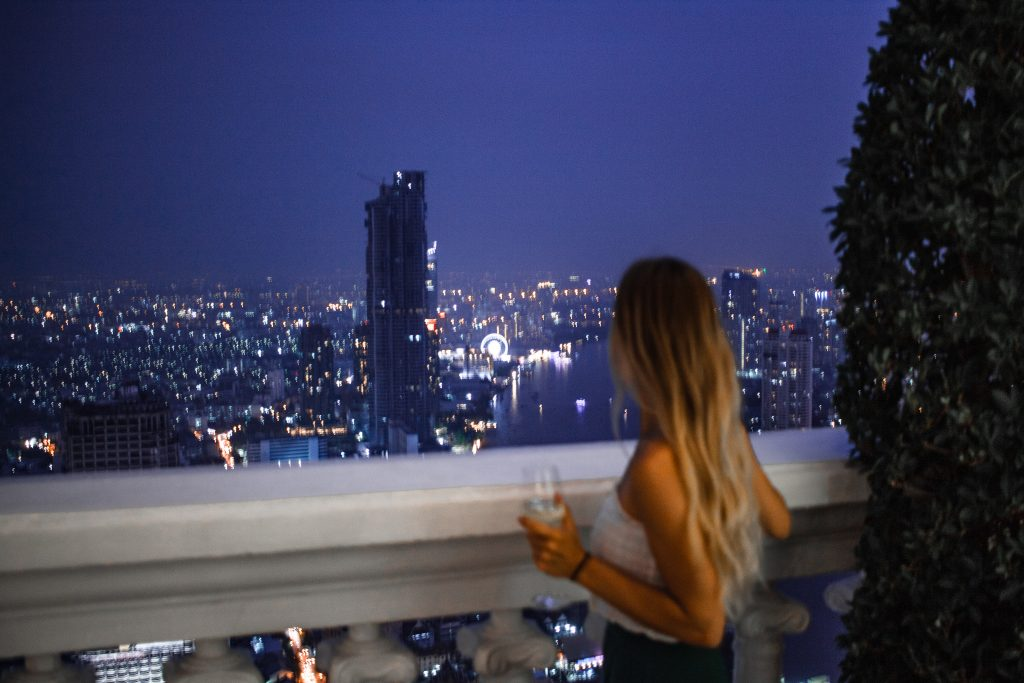 bangkok city lights in the distance