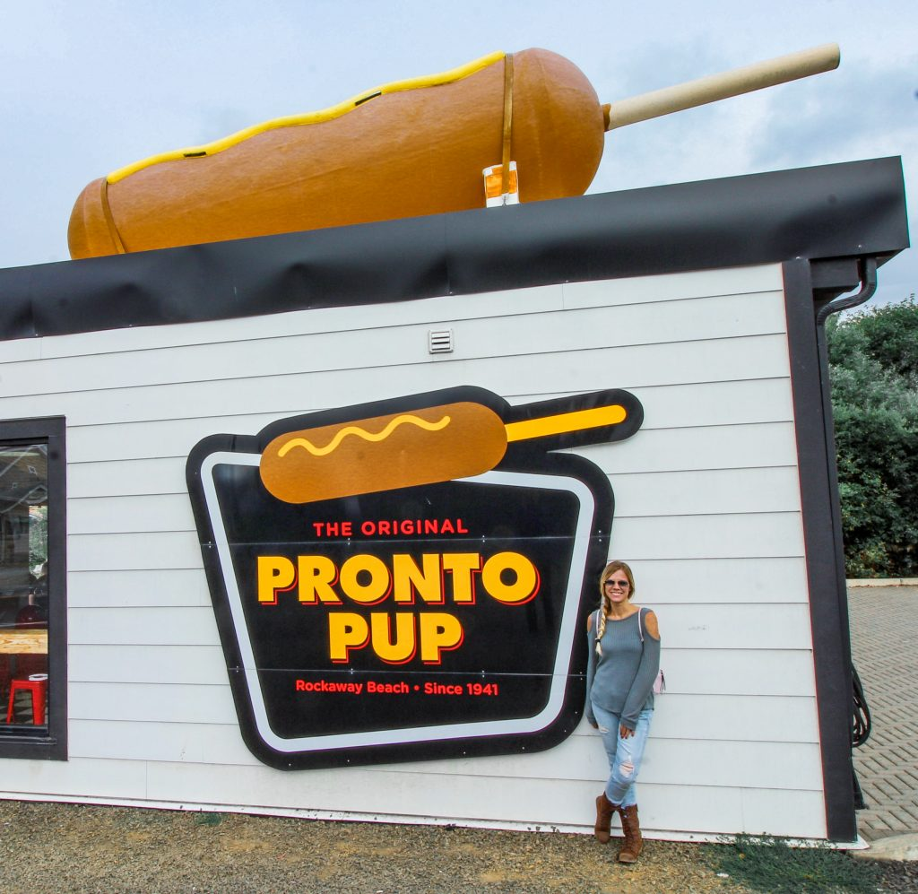 in front of the original pronto pup sign