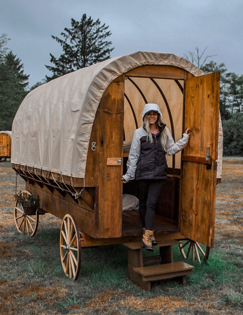 a covered wagon we camped out in