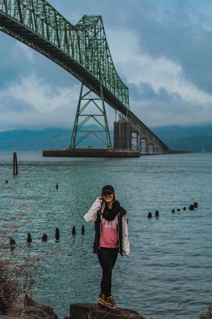 me in front of the astoria-megler bridge
