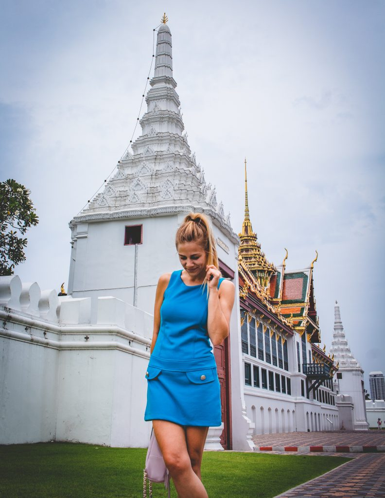 me standing in front of the walls of the grand palace