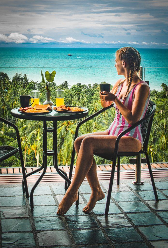balcony breakfast at the plantation overlooking a coconut tree farm