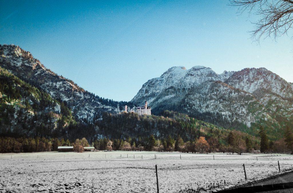 neuschwanstein perched up on the alps
