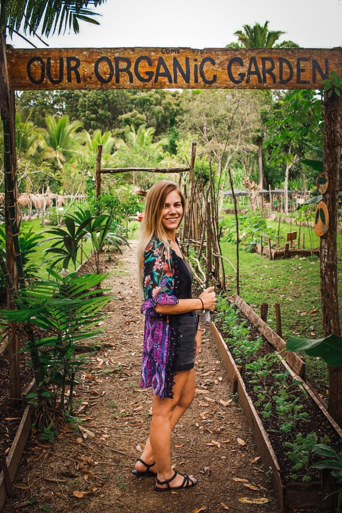 me in front the organic garden at cotton tree