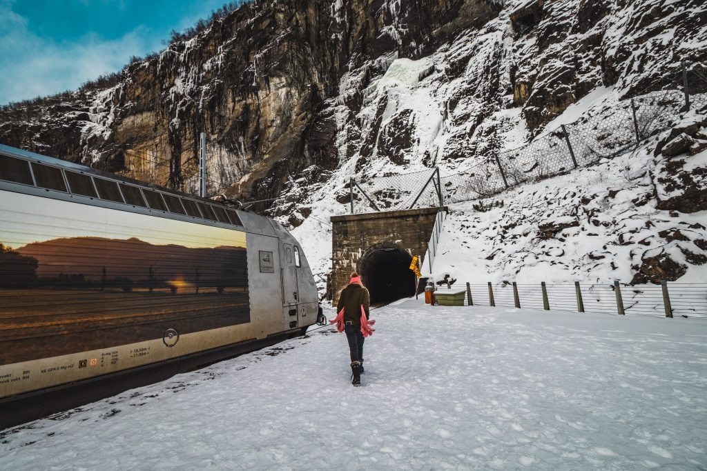 me in front of the train and tunnel going to myrdal from flam