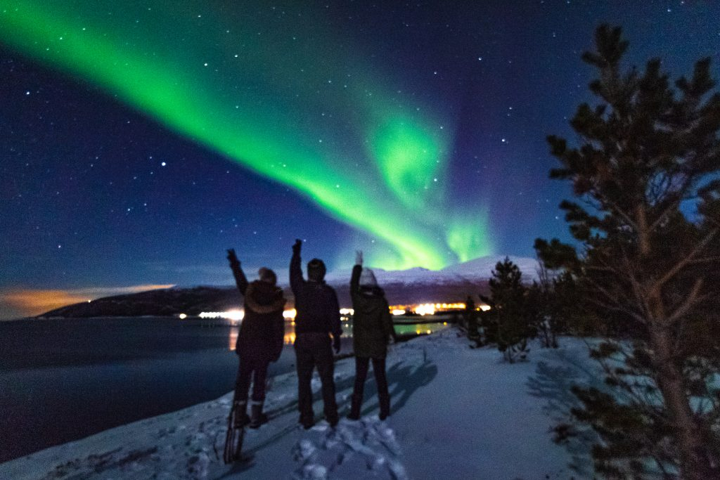 me and my two friends under the northern lights