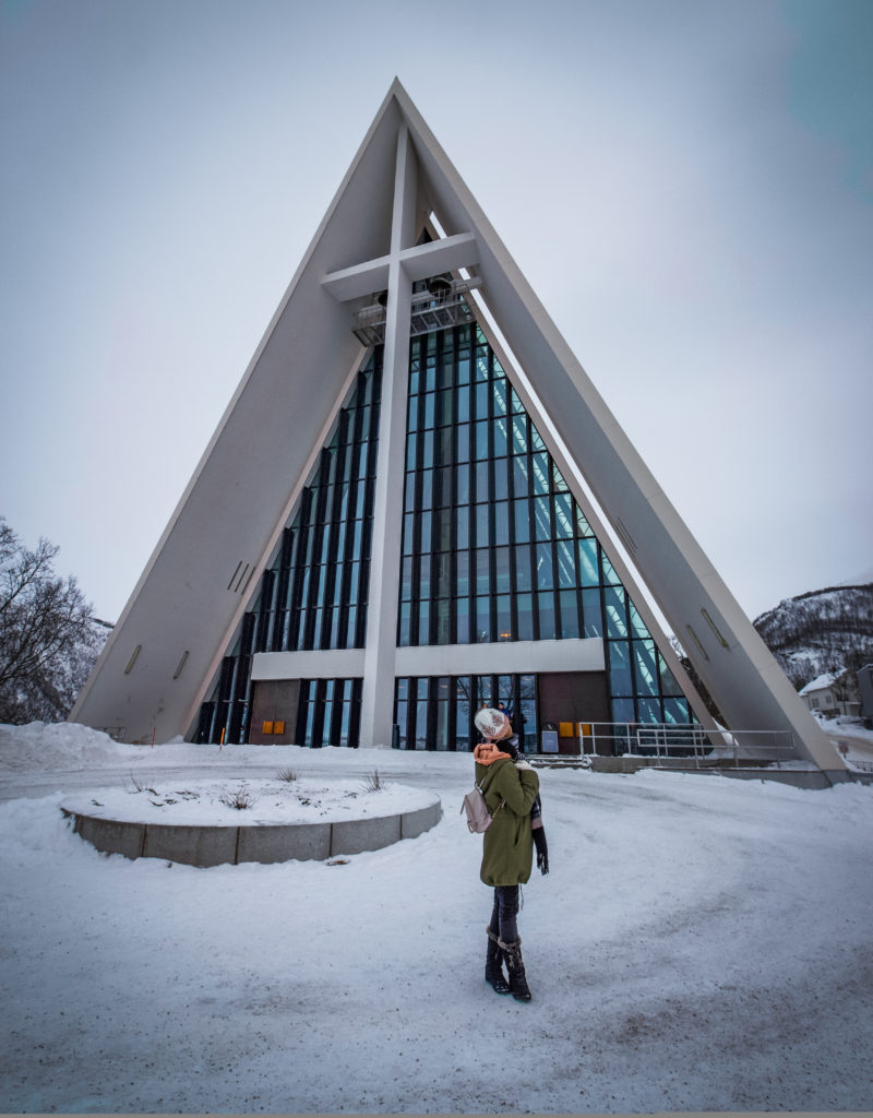 me in front of tromso's cathedral