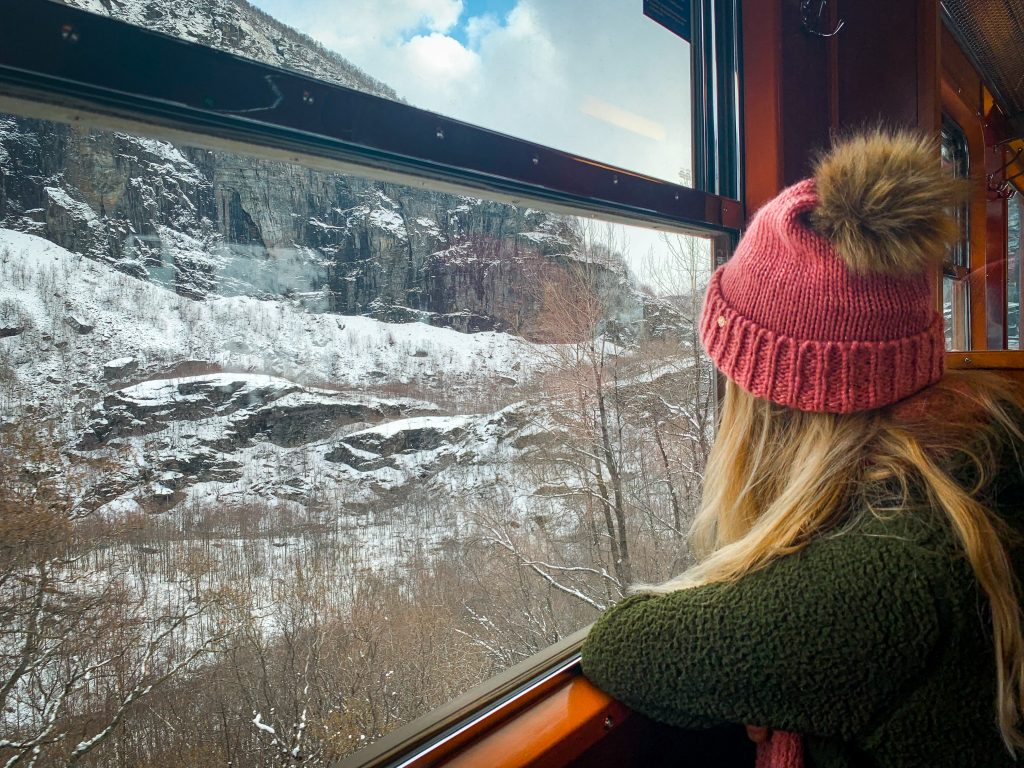 me looking out the window of the train