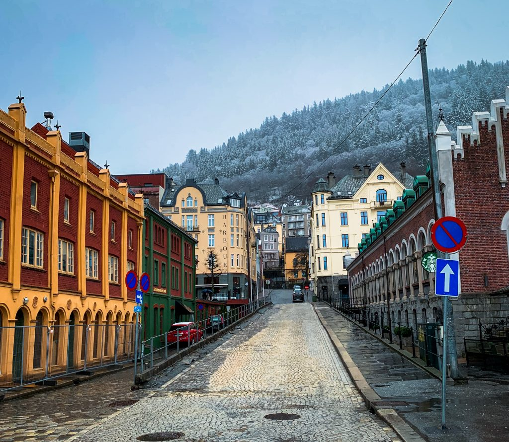 a bergen street with beautiful colorful buildings