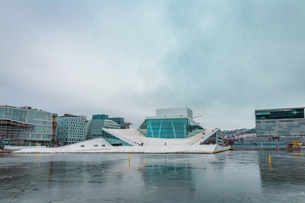 the operate house across the icy water