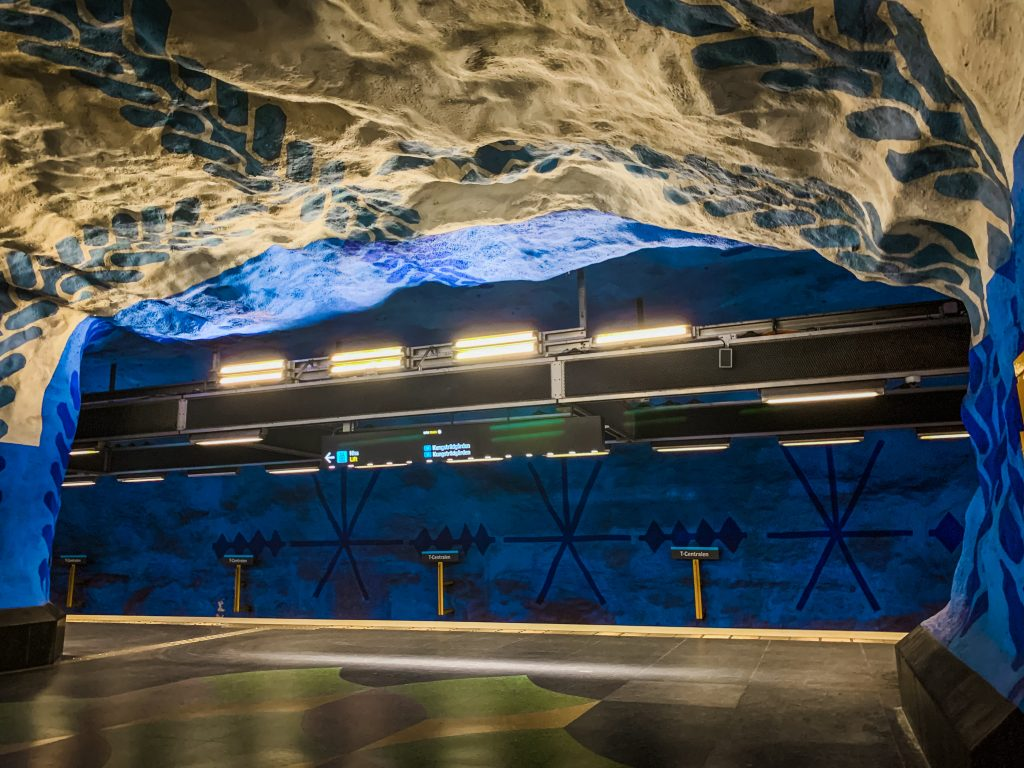 the t centralen station with blue and white art