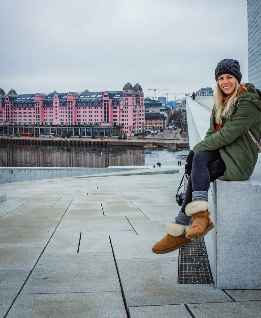me sitting on the step on the oslo opera house